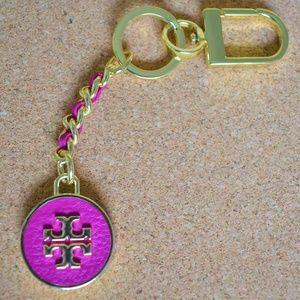 Tory Burch Pink Keychain Key Fob Bag Charm NWOT